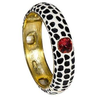 Kenneth Jay Lane (KJL) Enamel & Topaz Bracelet, Leopard Spotted Enamel