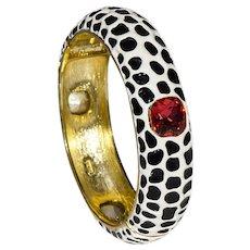 Kenneth Jay Lane (KJL) Leopard Bracelet, Enamel & Topaz Bracelet