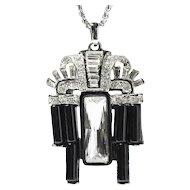 Kenneth Jay Lane (KJL) Art Deco Style Necklace, Black Resin & Rhinestones, Silver Metal Chain