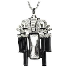 Kenneth Jay Lane (KJL) Art Deco Style Necklace, Black Resin & Rhinestones, Silver Metal Chain