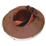 Whittall & Javits Brown Wool Felt Wide-brim Hat with Netting