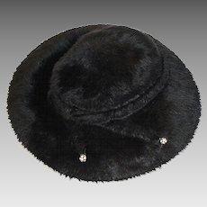 1960s Black Faux Fur Hat, Rhinestone Detail, Hat Size 21