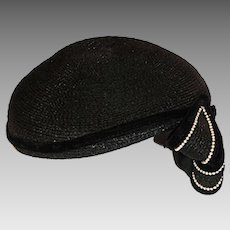 1950s Cocktail Hat, Black Straw with Pearls