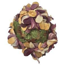 1950s Vintage Floral Hat, Purple Flowers, Gold Leaves, Velvet Petals