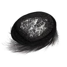 Vintage Joseph Magnin Black Lace & Feather Hat, 1950s Close Hat
