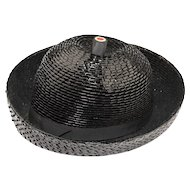 Vintage 1960s Breton Hat by Leslie James, Black Straw, Hat Size 21.5
