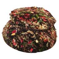 Vintage 1950s Leslie James Bejeweled Vintage Hat, Size 21
