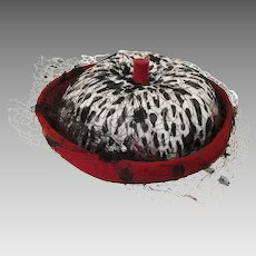 Vintage 1950s Feathered Hat By Leslie James, Red, White & Black Feathers, Netting