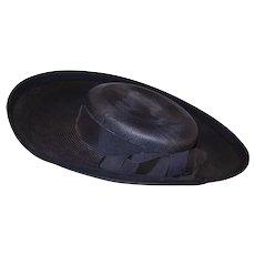Vintage 50s Navy Hat, Blue Straw Hat, Breton, Luci Puci, Hat Size 20
