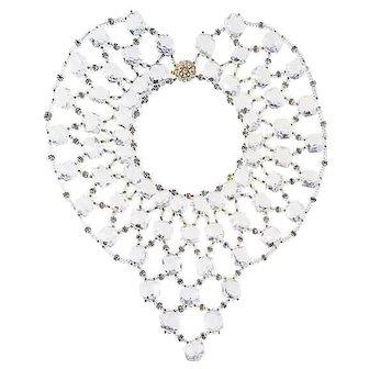 1950s Miriam Haskell Lucite Bib Necklace, Wedding Jewelry