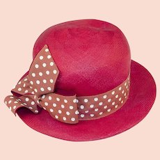 1cf5676d9f1bf2 Vintage 60s Red Straw Fedora Hat, Polka Dot Hatband & Bow, Hat Size 21