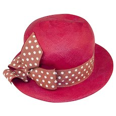 Vintage 60s Red Straw Fedora Hat, Polka Dot Hatband & Bow, Hat Size 21
