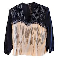 Vintage 1930s Navy Silk Beaded Blouse