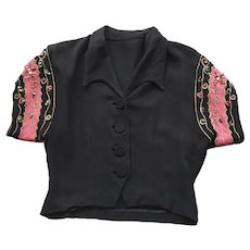 1940s Bolero Blouse, Black & Pink, Rhinestones. Sequins, Gold Braiding, Nipped Waist