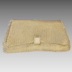 Whiting and Davis Gold Mesh Clutch, Rhinestone Closure, Cocktail Bag