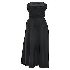 1950s Strapless Cocktail Dress, Black Taffeta, Bustle, Corset Bodice, Party, Prom, Fit & Flare