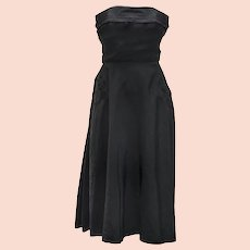 Vintage 50s Strapless Cocktail Dress, Black Taffeta Dress, Bustle, Corset Bodice, Party Dress, Prom Dress, Fit and Flare