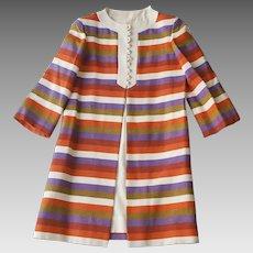1960s Vintage Linen Coat & Dress Set, Rainbow Striped Coat, Sleeveless Cream Dress