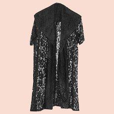 Vintage 50s Black Lace Evening Jacket, Swing Coat, Shawl Collar, Sheer