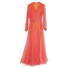 1970s Salmon Pink Evening Gown, Shirt Waist Party Dress, Silk Chiffon