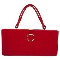 1950s Red Velvet Structured Handbag by Markay Bags