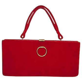1950s Red Velvet Structured Handbag by Markay Bags