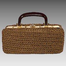 1950s Brown Crochet Structured Box Handbag