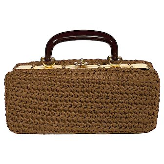 1950s Brown Crochet Structured Box Handbag