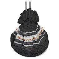 Mid-Century Black & Silver Crochet Drawstring Purse