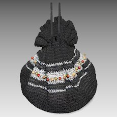 Mid-Century Black & Silver Crochet Drawstring Purse