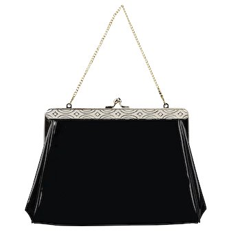 Harry Levine Black Patent Clutch with White Enamel Frame