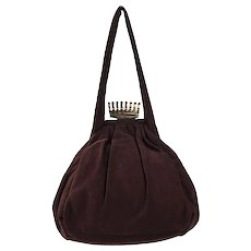 1940s Pouch-Style Handbag by Princess, Brown Fabric, Gold Crown Clasp