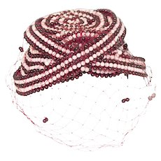 1970s Bes Ben Hat, Burgundy & Pink Beading with Netting, Collector Piece