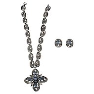 Napier Silver Plate Necklace & Earrings Set, Maltese Cross Pendant