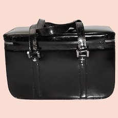 Authentic Gucci Train Case, Black Patent Leather, 1980s Vintage