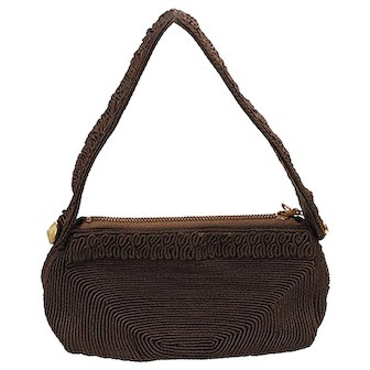 Lamar 1940s Brown Corde Mini Purse
