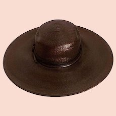 VIntage 70s Wide Brim Straw Hat, Chocolate Brown by Adele Claire, Hat Size 21