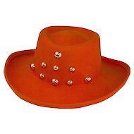 1970s Orange Wide Brim Hat, Molded Wool Felt, Large Gold Studs, Size 21