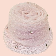 Vintage 50s, Pink Easter Flower Pot Hat, Crinoline, Mini Roses, Hat Size 21