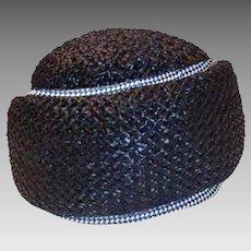 Vintage 60s Turban, Navy Blue Straw Hat, Gingham Trim, Hat Size 22