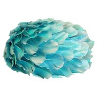 1960s Aqua All-Over-Feather Hat by Andre Denis Paris, Hat Size 20.5