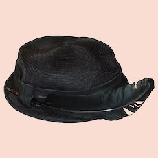 Mid Century Black Straw Hat with Quill Feather, Hat Size 21, Cocktail, Evening, Work Appropriate