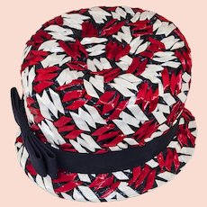 Vintage 60s Bucket Hat, Red, White & Blue Straw Hat by Michell,
