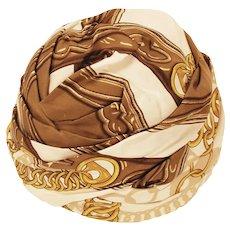 Vintage Hermes Silk Scarf Turban, Hat Size 22