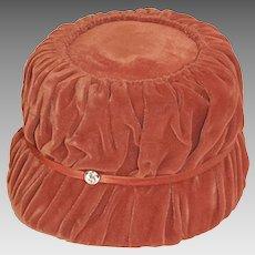 1950s Orange Hat in Shirred Velvet, Rhinestone Trim, Hat Size 21