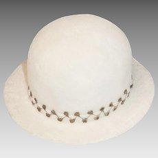 1950s Marshall Field Hat, Winter White Wool Felt, Gold Leaf Decoration, Hat Size 21.5