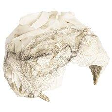 Vintage 1950s Cream Half Hat, Wedding Hat, Silk Chiffon Flowers, Blue Netting