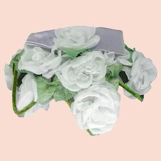 1950s Half Hat, Ice Blue Silk Roses by Park Crescent