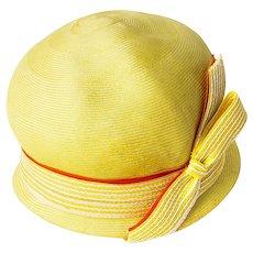 1960s Adolfo II Yellow Straw Cloche