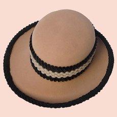 46b0dc7d953e2c Vintage 60s Archie Eason Hat, Camel Wool with Velvet Hatband & Trim